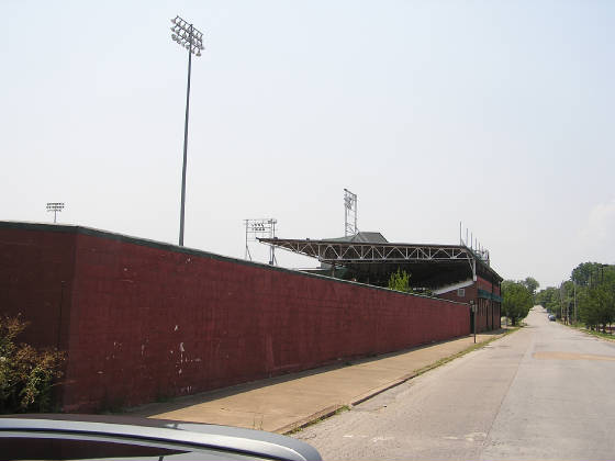 The brick wall outside the park